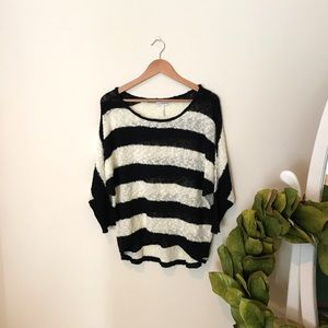 Black and White Striped Oversized Slouchy Sweater